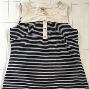 Sleeveless navy striped top // Banana Republic